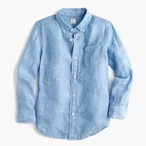 J.Crew Kids' Irish linen shirt in tide blue