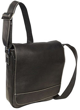 David King Leather 8471 Deluxe Medium Size Flap Over Messenger