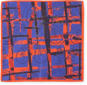 Bugatchi Striped Paisley Silk Pocket Square