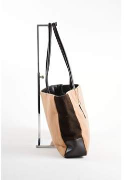 Max Mara Pre-owned Brown Tan Wool Leather Two Tone Shoulder Tote Bag.