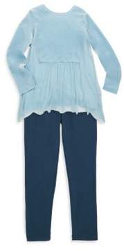 Splendid Little Girl's Velour Tulle Top& Leggings Set