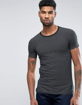 Lindbergh T-Shirt In Black and Gray Marl Stripe