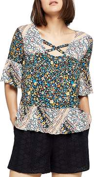 BCBGeneration Mixed Print Bell Sleeve Top