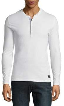 Selected Buttoned Cotton Henley