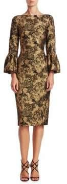 Theia Bell Sleeve Jacquard Dress