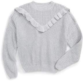 Blank NYC BLANKNYC Denim Ruffle Sweater (Big Girls)