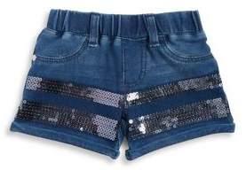 Flapdoodles Little Girl's Sequined Denim Shorts