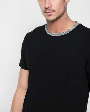 7 For All Mankind Short Sleeve Ringer Tee in Black