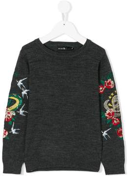 John Richmond Kids embroidered sleeve sweatshirt