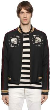 Just Cavalli Embroidered Twill & Velvet Bomber Jacket