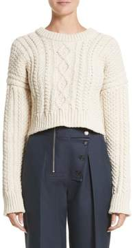 Calvin Klein Back Strap Cable Knit Crop Sweater