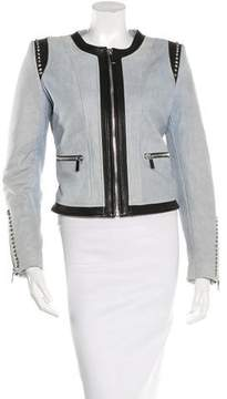 Barbara Bui Leather-Trimmed Denim Jacket