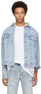 Ksubi Blue Oh G Acid Trip Trash Denim Jacket