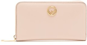 Fendi Logo Embellished Continental Leather Wallet - Womens - Light Pink