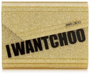 Jimmy Choo CANDY Gold I Want Choo Glitter Acrylic Clutch Bag