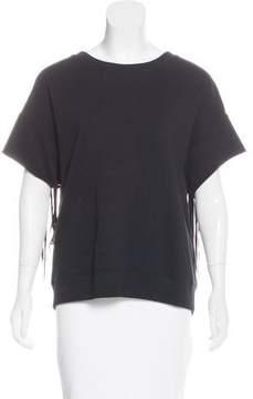 BLK DNM Fringe-Accented Short Sleeve Sweatshirt