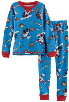Cuddl Duds Disney's Mickey Mouse Toddler Boy 2-pc. Baseball Thermal Base Layer Top & Pants Set by