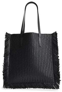 Michael Kors Maldives Woven Frayed Leather Tote - BLACK - STYLE