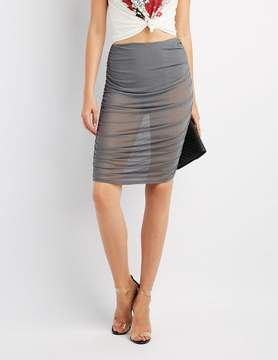 Charlotte Russe Mesh Ruched Pencil Skirt