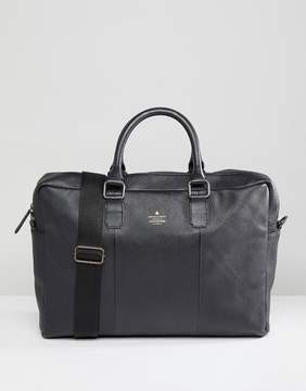 Asos Briefcase In Black Leather With Emboss Details