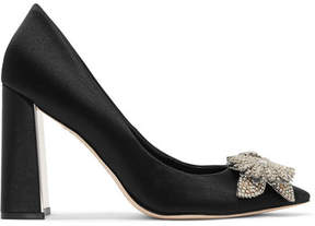 Sophia Webster Lilico Crystal-embellished Satin Pumps - Black