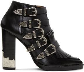 Toga Pulla Black Heeled Five-Buckle Western Boots