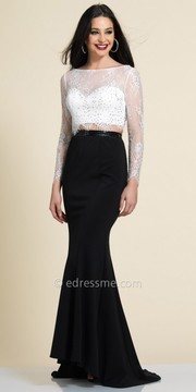 Dave and Johnny Scalloped Lace Two Piece Evening Dress