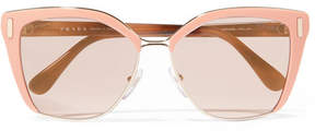 Prada Square-frame Acetate And Gold-tone Sunglasses - Pink