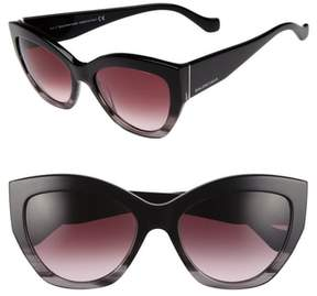 Balenciaga Women's 56Mm Cat Eye Sunglasses - Striped Black/ Opal/ Ruthenium