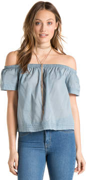 Bella Dahl Pintuck Off Shoulder Top-Grey Blue-XS