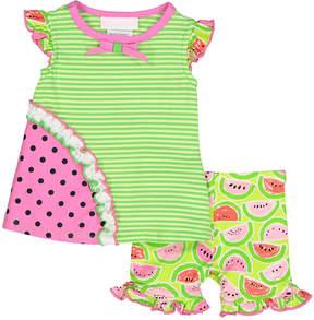 Bonnie Jean Green Watermelon Stripe Ruffle Tank & Capri Pants - Newborn & Infant