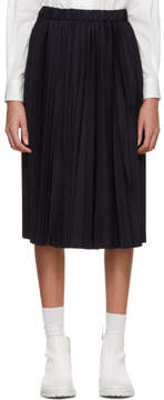 Comme des Garcons Navy Pleated Wool Skirt