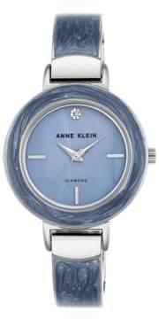 Anne Klein Silvertone Diamond-Accented Blue Bezel Bracelet Watch