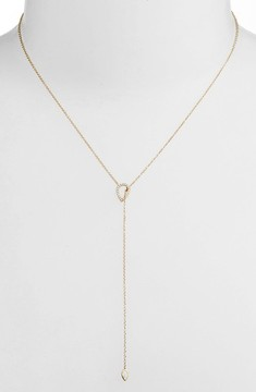 Ef Collection Women's Teardrop Diamond Lariat Necklace