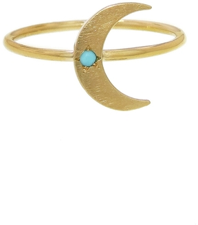 Andrea Fohrman Mini Crescent Moon Ring with Turquoise