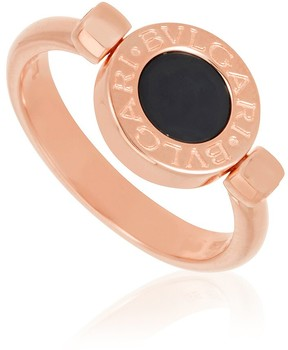 Bvlgari 18K Pink Gold And Mother Of Pearl Onyx Ring Size 7.25