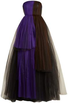 DELPOZO Strapless tiered silk-blend tulle gown