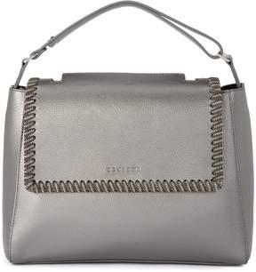 Orciani Sveva Medium Carbon Metal Leather Handbag With Chain