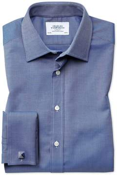 Charles Tyrwhitt Classic Fit Egyptian Cotton Royal Oxford Royal Blue Dress Shirt French Cuff Size 15.5/34
