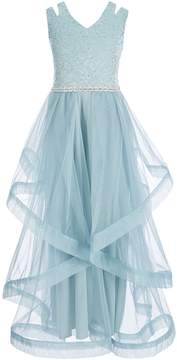 Xtraordinary Big Girls 7-16 Glitter-Lace/Tulle Long Dress