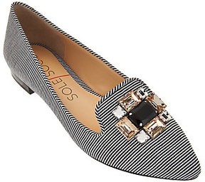 Sole Society As Is Embellished Pointed Toe Flats - Libry