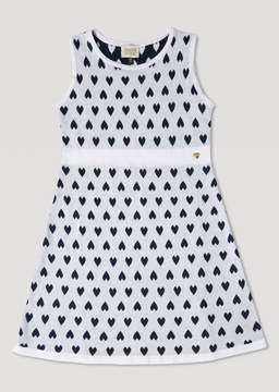 Armani Junior Cotton Knit Dress With All-Over Heart Pattern