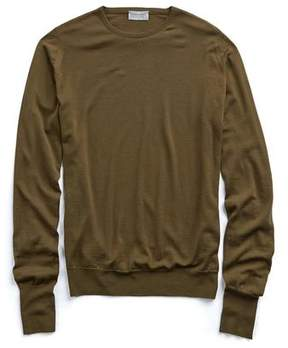 John Smedley Sweaters Easy Fit Crewneck Merino Sweater in Olive