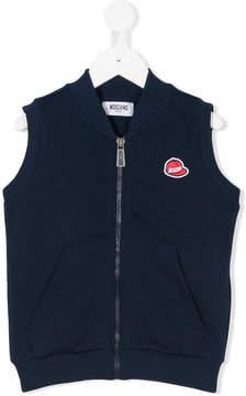 Moschino Kids logo hat sleeveless zipped top
