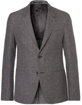 Caruso Blue Butterfly Slim-Fit Unstructured Checked Linen Blazer