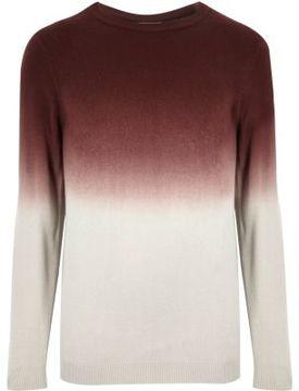 River Island Mens Burgundy faded dip dye sweater