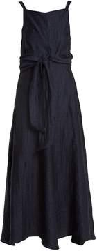 Masscob Square-neck waist-tie linen-blend dress