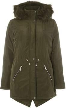 Dorothy Perkins Khaki Faux Fur Trim Parka Coat