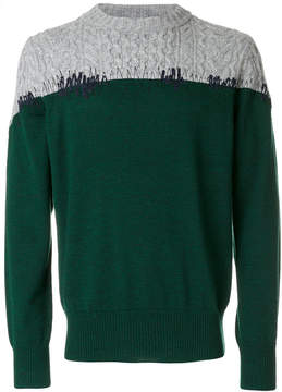 Sacai cable knit panel sweater