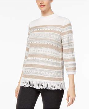 Alfred Dunner Eskimo Kiss Embroidered Fringe Sweater